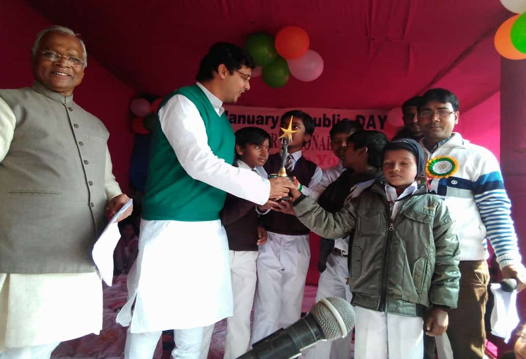 Secretary and MLA gave gifts to children